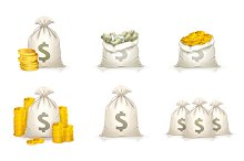 Bags of money vector icons