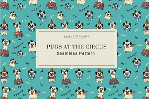 Pugs at the Circus Seamless Pattern
