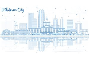 Outline Oklahoma City Skyline