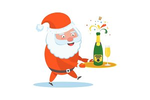 Santa Claus with champagne