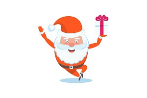 Funny happy Santa Claus character