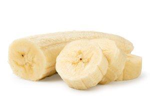 Peeled banana slices close up