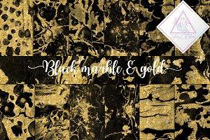 Black Marble & Gold Glitter Paper