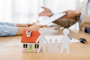 White paper cut family and house mod