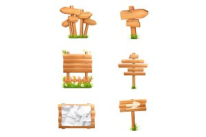 Wooden signs vector icons