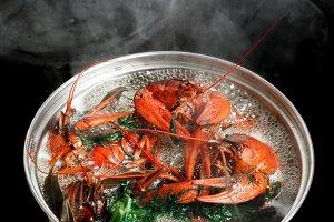 Boiled crawfish dill bay leaf boilin