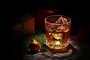 Glass with cognac or whiskey