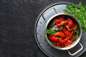 Boiled crawfish top view copy space
