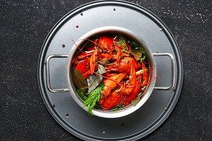 Boiled crawfish top view