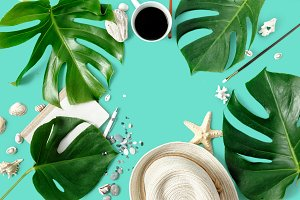 Summer background top view Flat lay