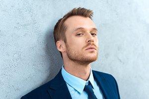 portrait of handsome businessman loo