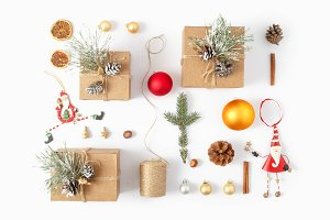 Flat lay Christmas decoration