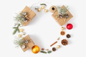 Christmas decoration wreath flat lay