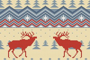 Deers knitted seamless pattern