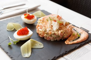 Russian salad with crab meat
