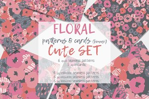 Floral seamless patterns & cards