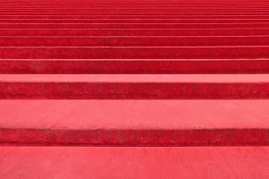 Red carpet on stairway