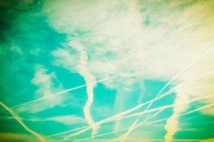 Blue sky vintage retro