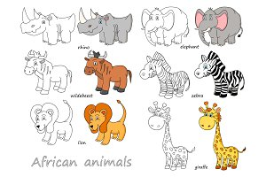 Cartoon african animals outline