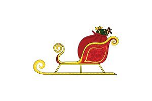 Santa's sleigh with gifts. Vector