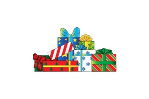 Gifts. Vector color illustration