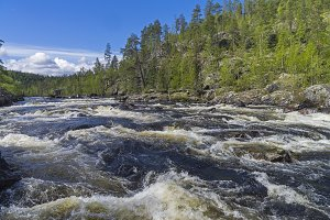 Rapids on Kutsayoki river, Russia.