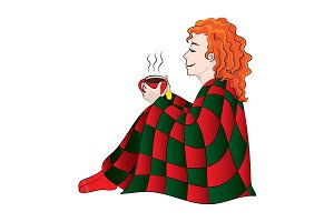 Girl (woman) in a plaid drinking tea
