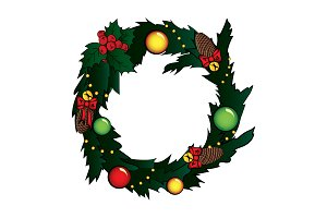 Christmas wreath. Vector color