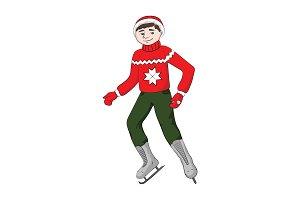 Boy (man) in Ice skates. Vector