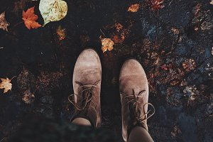 Autumn walk in suede shoes