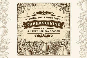 Thanksgiving Vintage Brown Card