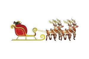 Santa's sleigh with gifts and deer.