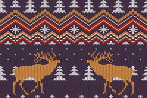 Christmas deers knitted pattern