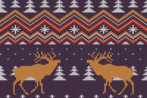 Christmas deers knitted pattern