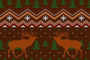 Seamless pattern with red deers