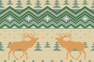 Knitted pattern with red deers