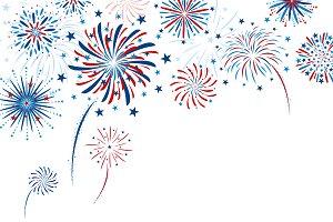 Fireworks design on white background