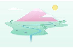 Japanese pink mountain poster