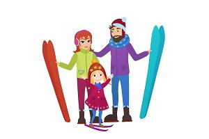 Family skiers with daughter