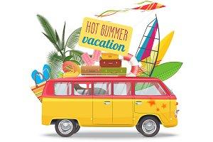 vintage Camper van trip logo