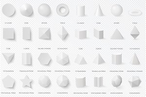 3d volumetric basic white shapes
