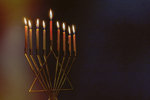 Menorah with colorful candles