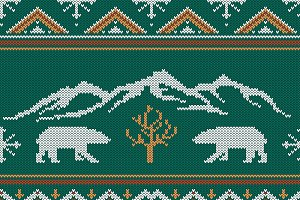 Bears & mountains knitted pattern
