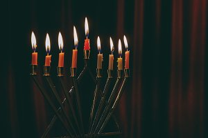 burning hanukkah candles in hanukkah