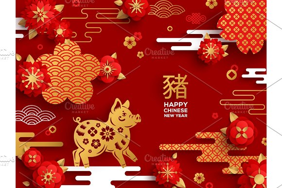red banner for chinese new year illustrations