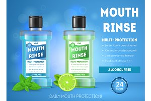 Realistic Detailed 3d Mouth Rinse Ad