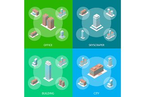 Different Types Office Building Set