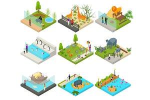 Public Zoo Set Concept 3d Isometric