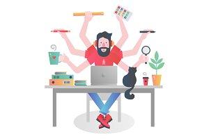 Multitasking man concept.