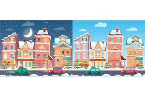 Christmas town day & night